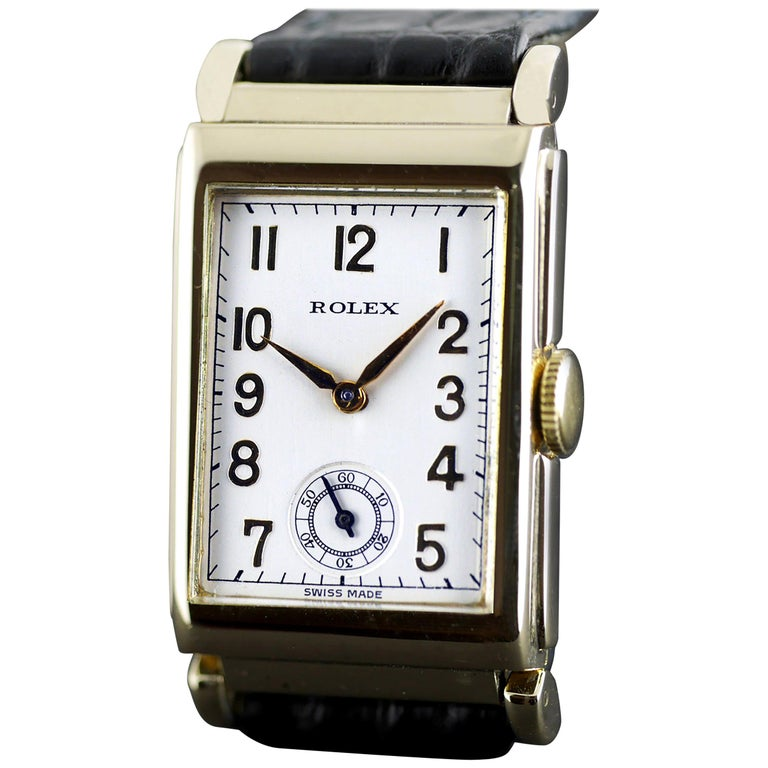 Rolex Yellow Gold Art Deco Articulated Lugs Chronometre Wristwatch, 1937 For Sale