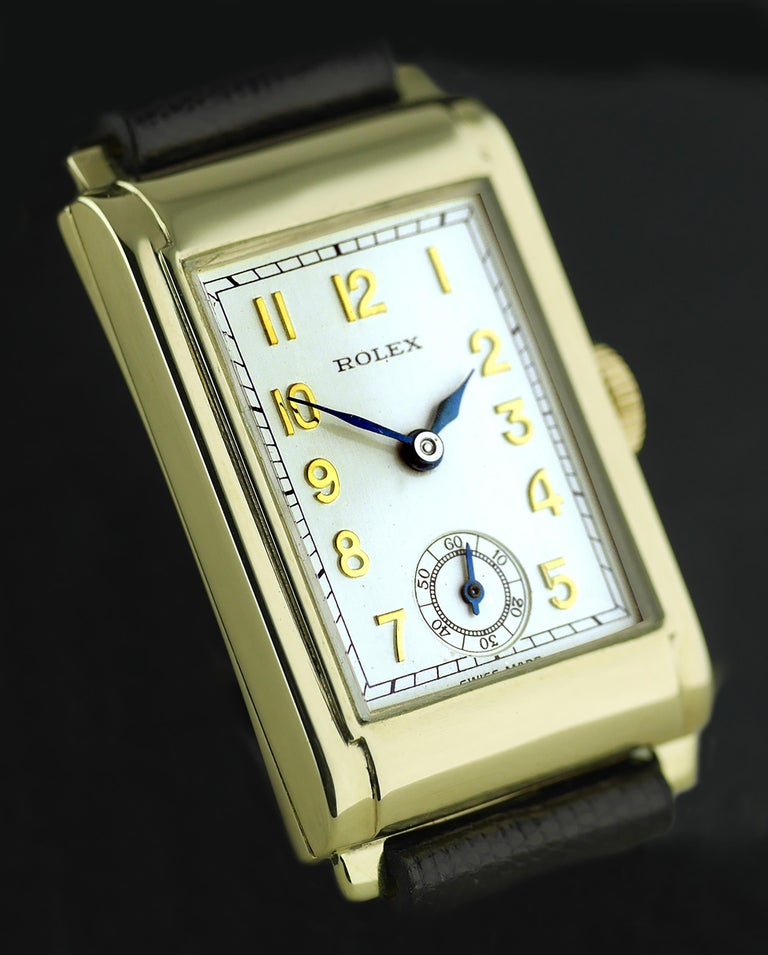 Rolex Yellow Gold Art Deco Railway Mechanical Wristwatch, 1934 In Excellent Condition For Sale In London, GB