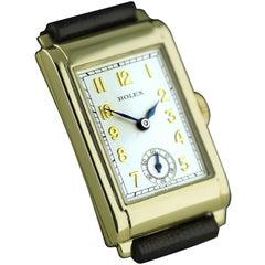 Rolex Yellow Gold Art Deco Railway Mechanical Wristwatch, 1934