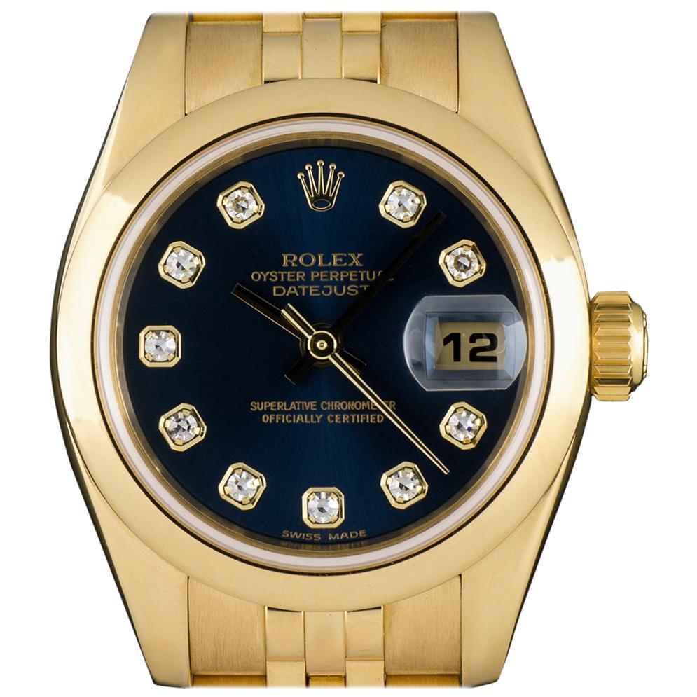 Rolex Yellow Gold Blue Diamond Dial Datejust 179168 Automatic Ladies Wristwatch