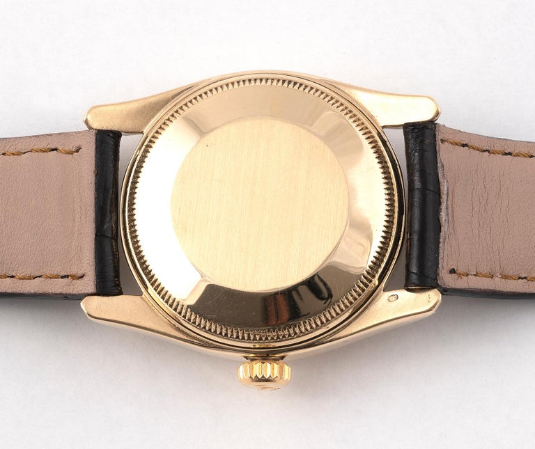 Retro Rolex Yellow Gold Bombé Oyster Perpetual Ref. 6090 Wristwatch For Sale