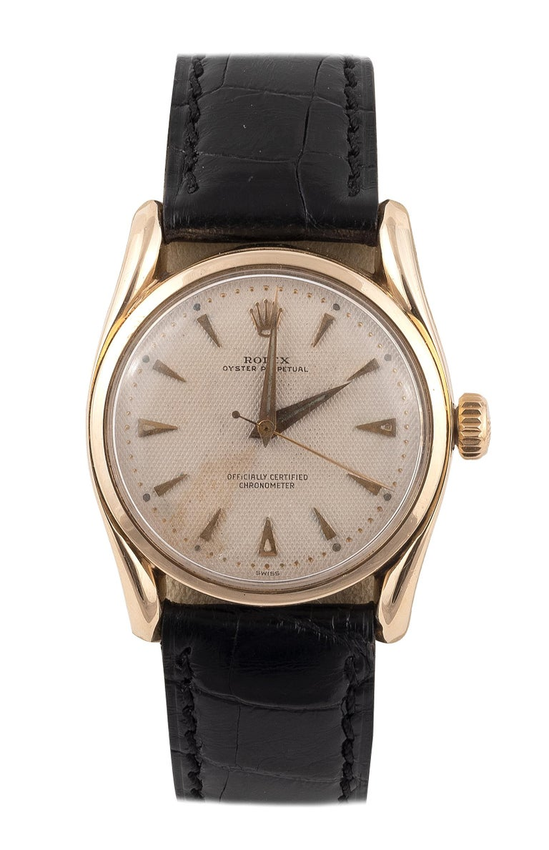 Rolex Yellow Gold Bombé Oyster Perpetual Ref. 6090 Wristwatch In Excellent Condition For Sale In Firenze, IT