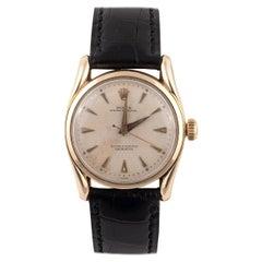 Rolex Yellow Gold Bombé Oyster Perpetual Ref. 6090 Wristwatch