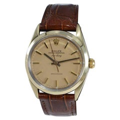 """Rolex Yellow Gold """"Clamshell"""" Steel back Ref. 1025-3 from 1970 Like New"""