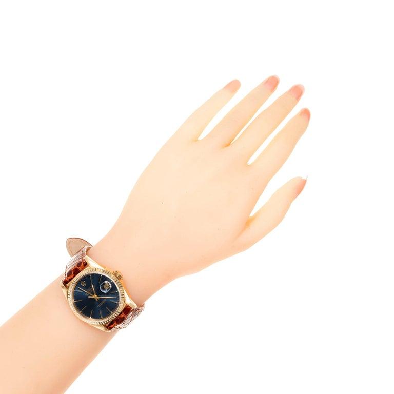 Rolex Yellow Gold Datejust Blue Dial Wristwatch Ref 16238 5