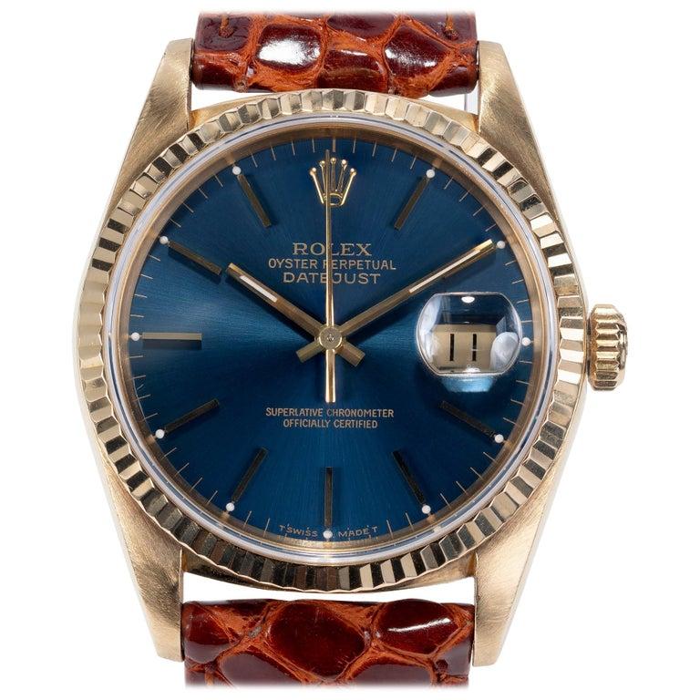Rolex Yellow Gold Datejust Blue Dial Wristwatch Ref 16238