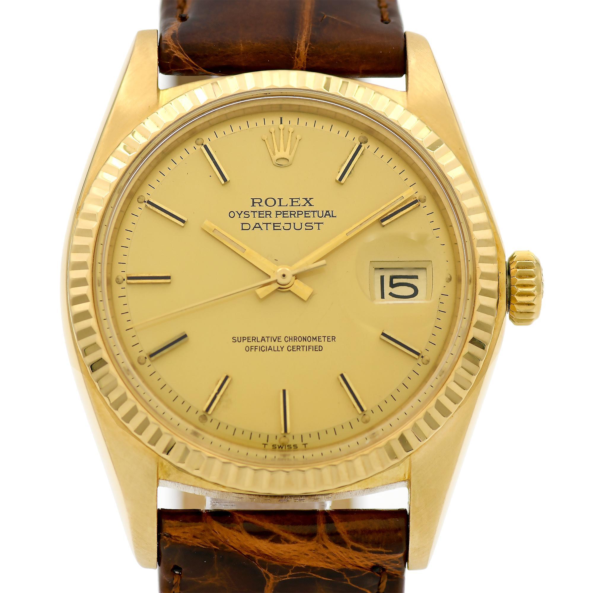 Rolex Yellow Gold Datejust Pie Pan Dial Automatic Wristwatch Ref 1601