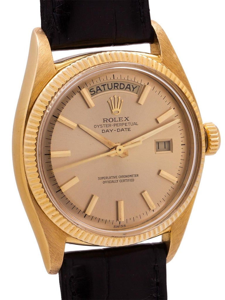 Rolex Yellow Gold Day Date self winding wristwatch Ref 6611B, circa 1959 In Excellent Condition In West Hollywood, CA