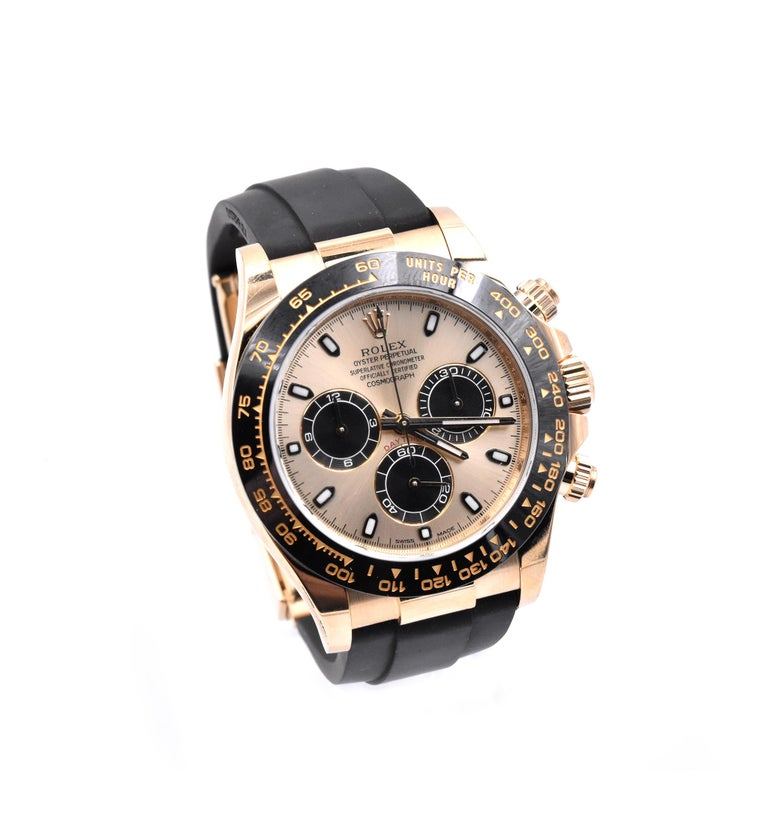Movement: automatic 4130 movement Function: hours, minutes, seconds, sub seconds, chronograph Case: 18k yellow gold round 40mm case, tachymeter bezel, inner reflector ring engraved with serial number, sapphire crystal, screw-down crown and