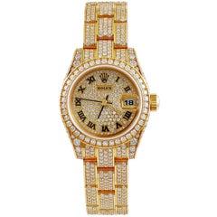Rolex Yellow Gold Diamond Datejust automatic Wristwatch