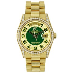 Rolex Yellow Gold Diamond Day / Date self winding Wristwatch