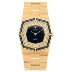 Rolex Yellow Gold Diamond Dial Sapphire Bezel Cellini Wristwatch Ref 5019/8