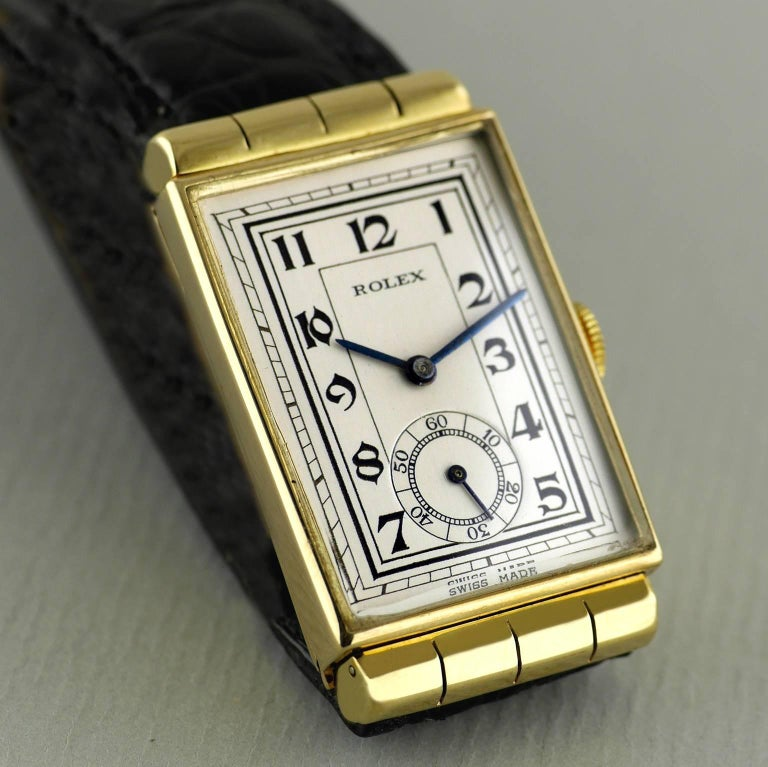 Women's or Men's Rolex Yellow Gold Hooded Lugs Vintage Art Deco Wristwatch, 1937 For Sale