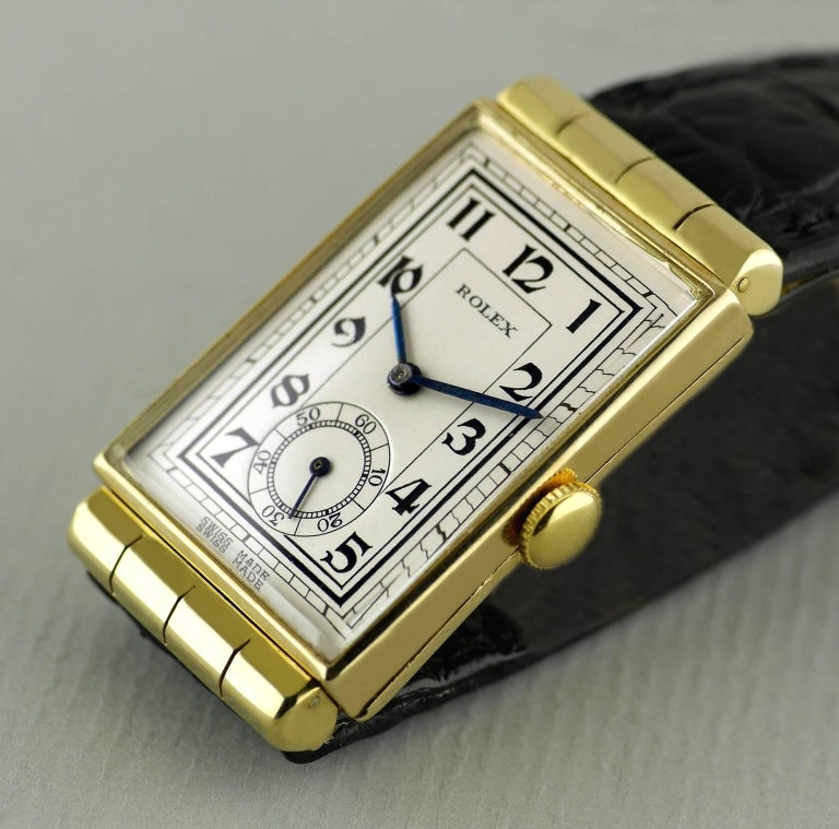 Rolex Yellow Gold Hooded Lugs Vintage Art Deco Wristwatch, 1937 For Sale 1