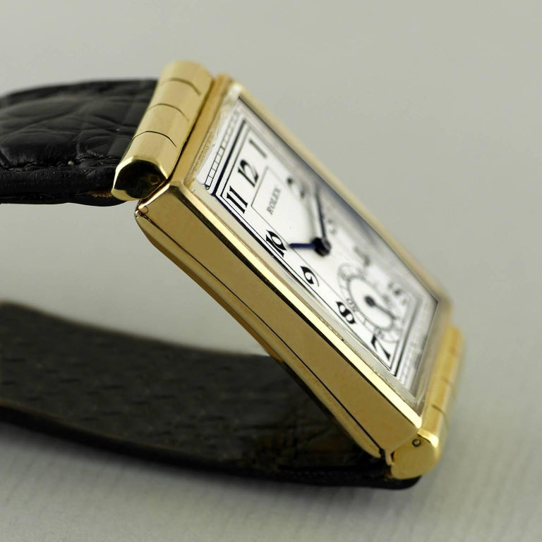 Rolex Yellow Gold Hooded Lugs Vintage Art Deco Wristwatch, 1937 For Sale 2