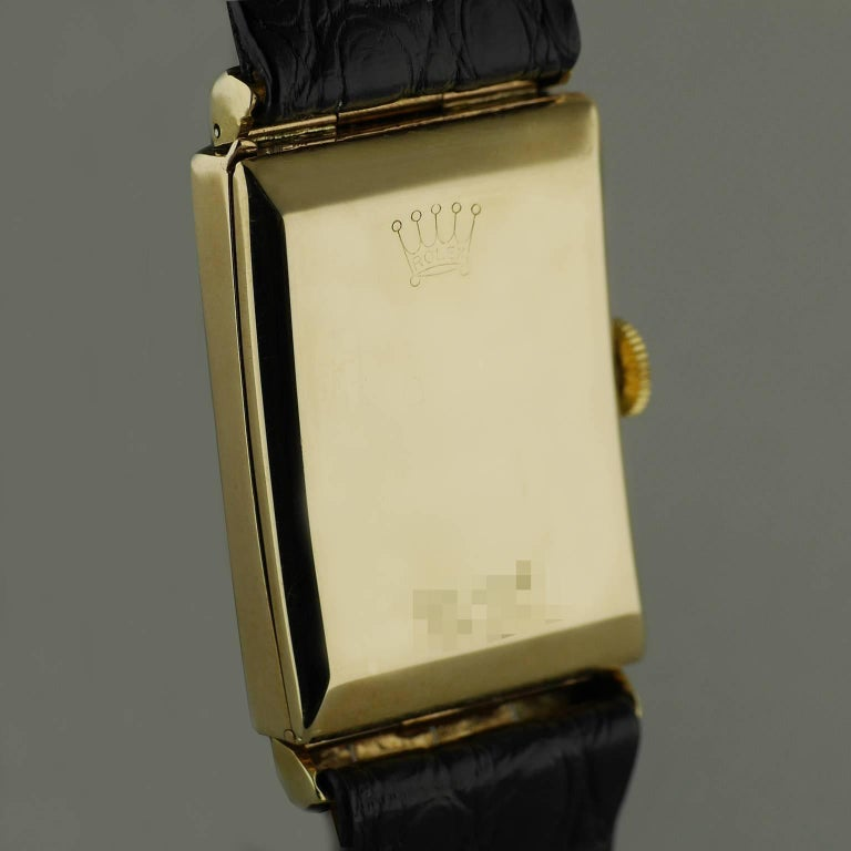 Rolex Yellow Gold Hooded Lugs Vintage Art Deco Wristwatch, 1937 For Sale 3