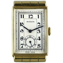 Rolex Yellow Gold Hooded Lugs Vintage Art Deco Wristwatch, 1937