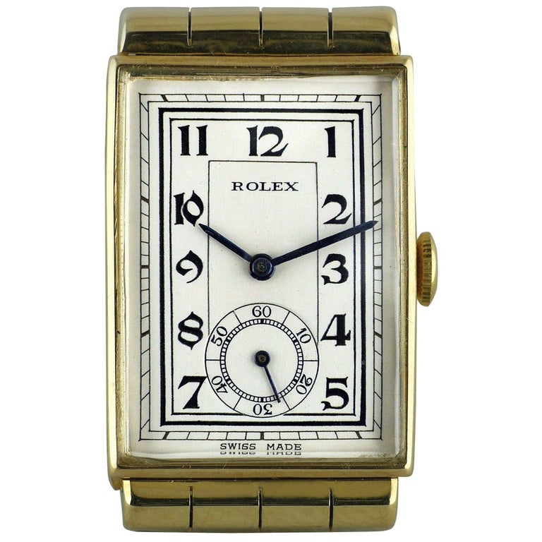 Rolex Yellow Gold Hooded Lugs Vintage Art Deco Wristwatch, 1937 For Sale