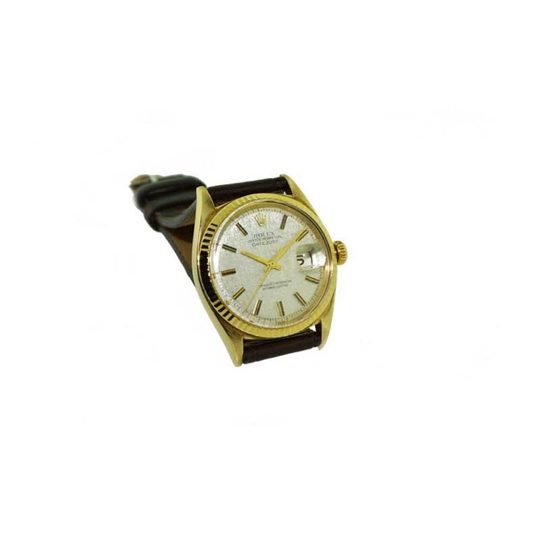 Rolex Yellow Gold Linen Dial Oyster Perpetual Datejust Watch, circa 1960s 1