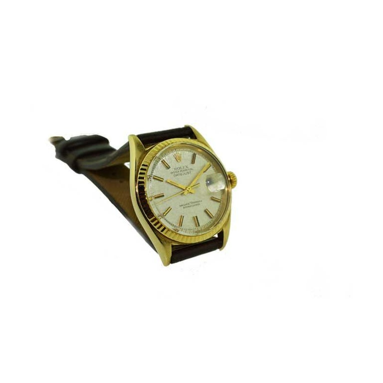 Rolex Yellow Gold Linen Dial Oyster Perpetual Datejust Watch, circa 1960s 2