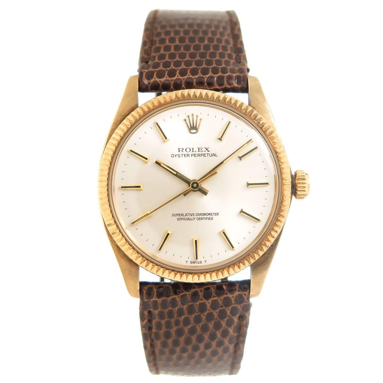Rolex Yellow Gold Oyster Perpetual Presentation Automatic Wristwatch For Sale