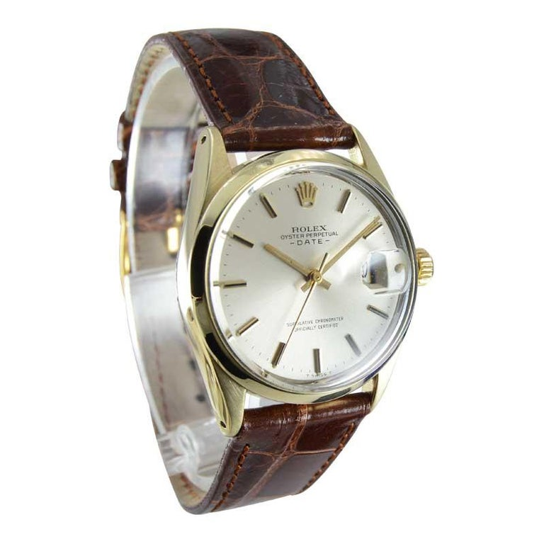 Women's or Men's Rolex Yellow Gold Shell Top Oyster Perpetual Date Watch From 1972 For Sale