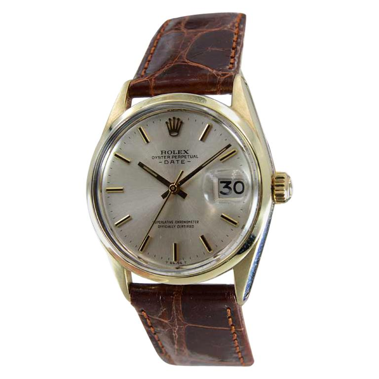 Rolex Yellow Gold Shell Top Oyster Perpetual Date Watch From 1972 For Sale