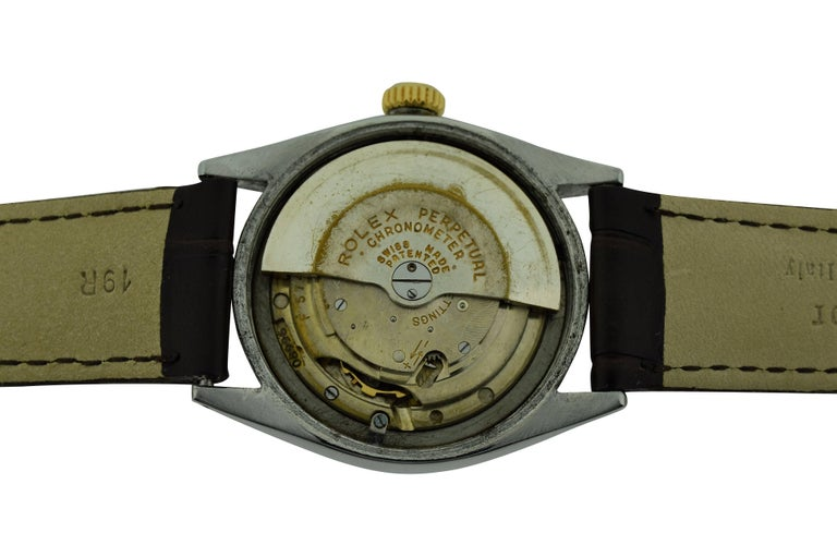 Rolex Yellow Gold Stainless Steel Bubble Back Oyster Perpetual Watch, 1950 For Sale 6