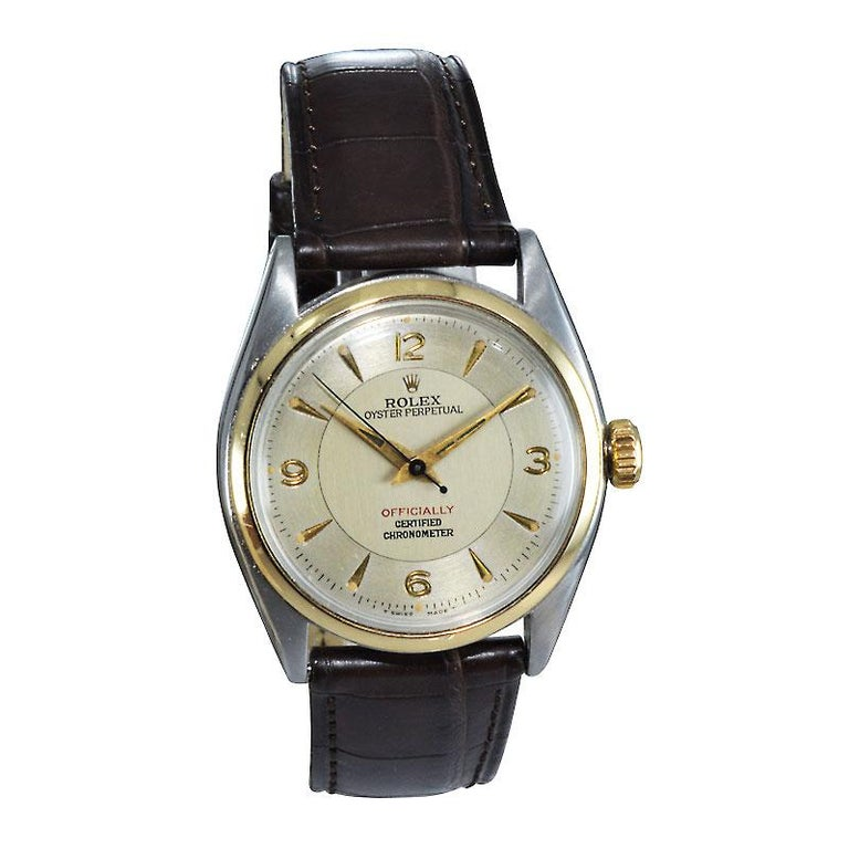 Rolex Yellow Gold Stainless Steel Bubble Back Oyster Perpetual Watch, 1950 In Excellent Condition For Sale In Venice, CA