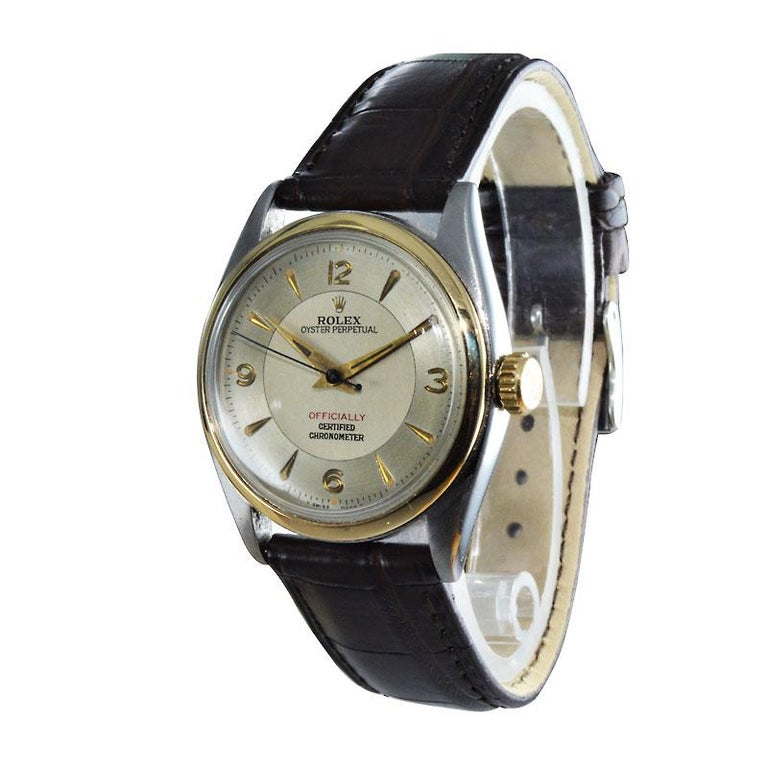 Women's or Men's Rolex Yellow Gold Stainless Steel Bubble Back Oyster Perpetual Watch, 1950 For Sale