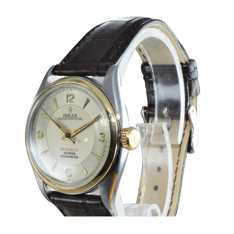 Rolex Yellow Gold Stainless Steel Bubble Back Oyster Perpetual Watch, 1950 For Sale 1