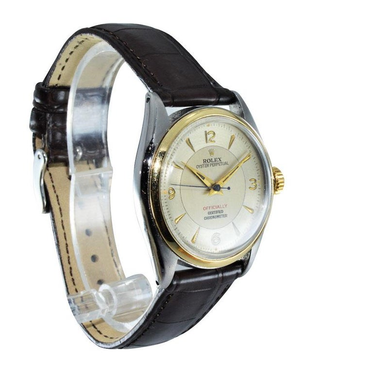 Rolex Yellow Gold Stainless Steel Bubble Back Oyster Perpetual Watch, 1950 For Sale 2