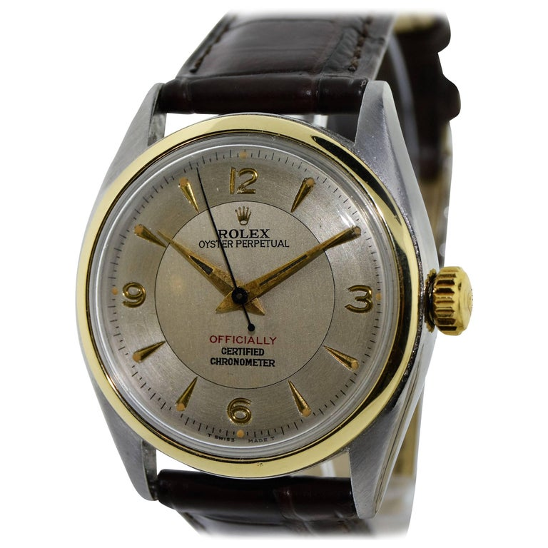 Rolex Yellow Gold Stainless Steel Bubble Back Oyster Perpetual Watch, 1950 For Sale 3
