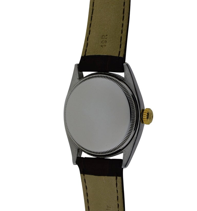 Rolex Yellow Gold Stainless Steel Bubble Back Oyster Perpetual Watch, 1950 For Sale 5