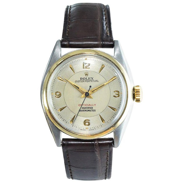 Rolex Yellow Gold Stainless Steel Bubble Back Oyster Perpetual Watch, 1950 For Sale