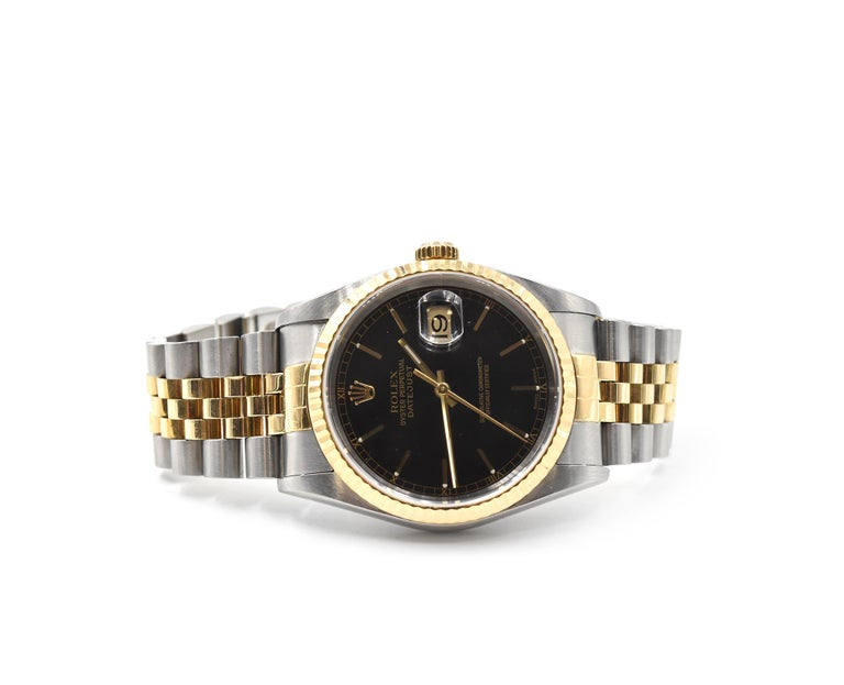 Rolex Yellow Gold stainless steel Datejust automatic Wristwatch Ref 16233 In Excellent Condition For Sale In Scottsdale, AZ