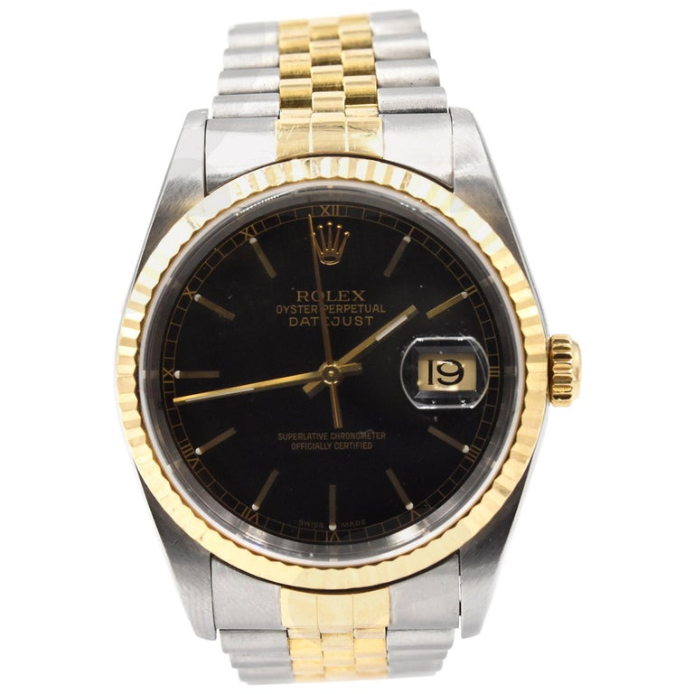 Rolex Yellow Gold stainless steel Datejust automatic Wristwatch Ref 16233 For Sale