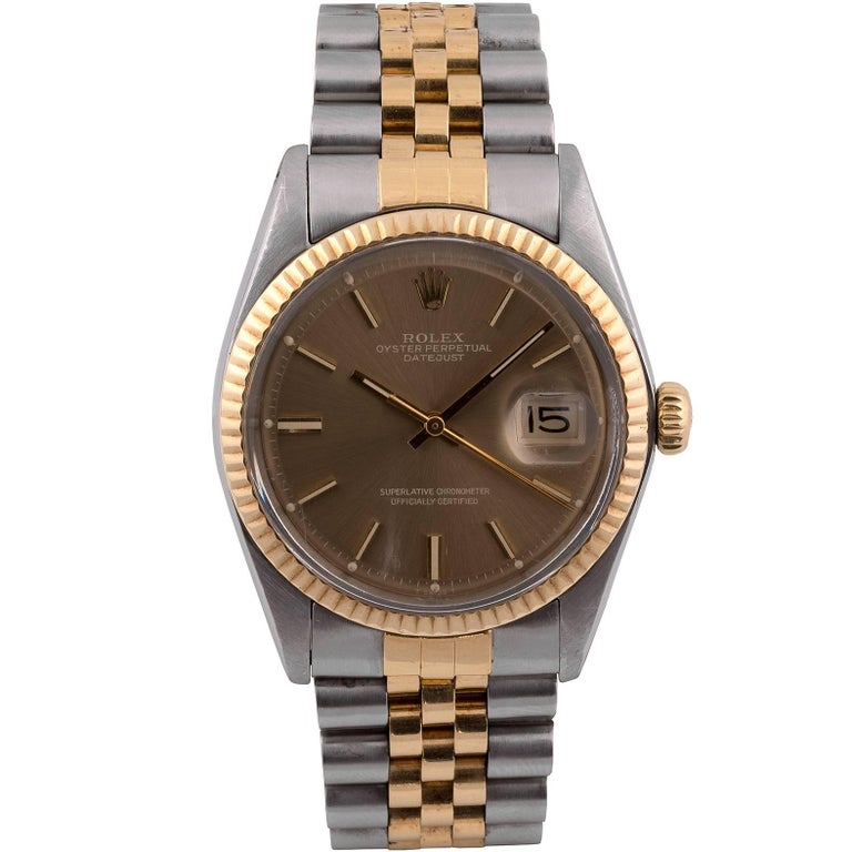 Rolex Yellow Gold Stainless Steel Datejust automatic Wristwatch Ref 1601 For Sale
