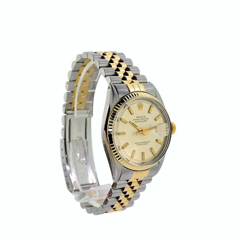 FACTORY / HOUSE: Rolex Watch Company STYLE / REFERENCE: Datejust /  1601 METAL / MATERIAL: Stainless Steel / 18Kt. Yellow Gold DIMENSIONS:  43mm  X  36mm CIRCA: 1970 / 71 MOVEMENT / CALIBER: Perpetual Winding /  26 Jewels / Cal. 1570 DIAL / HANDS: