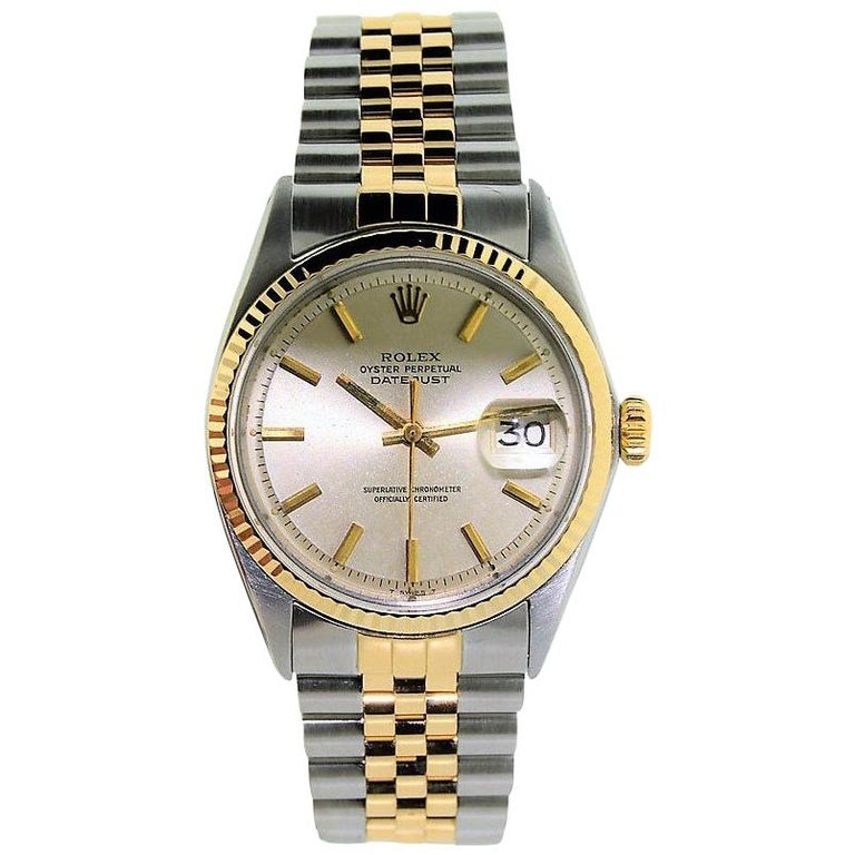 Rolex Yellow Gold Stainless Steel Datejust Oyster Perpetual Watch Dated 1970 For Sale