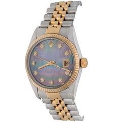 Rolex Yellow Gold Stainless Steel Diamond Datejust Automatic Wristwatch 16013