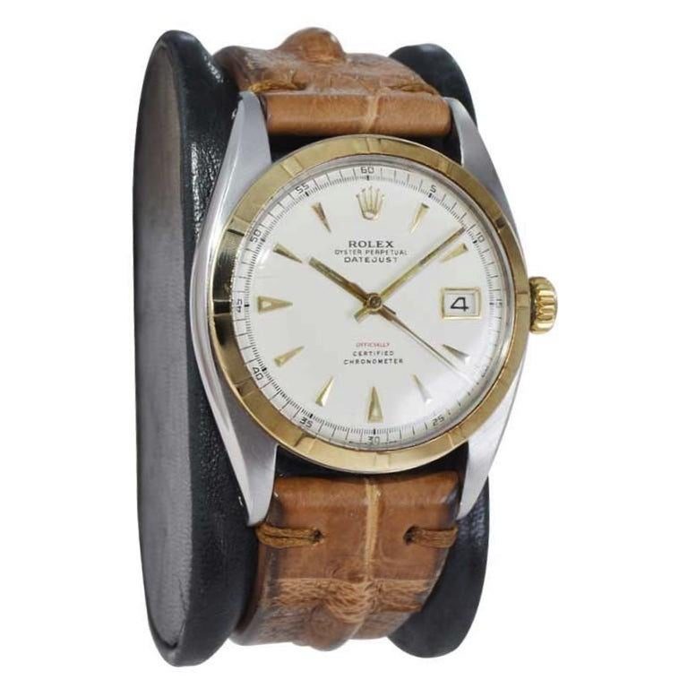 Modernist Rolex Yellow Gold Stainless Steel Early Datejust Perpetual Wind Watch, 1953 For Sale