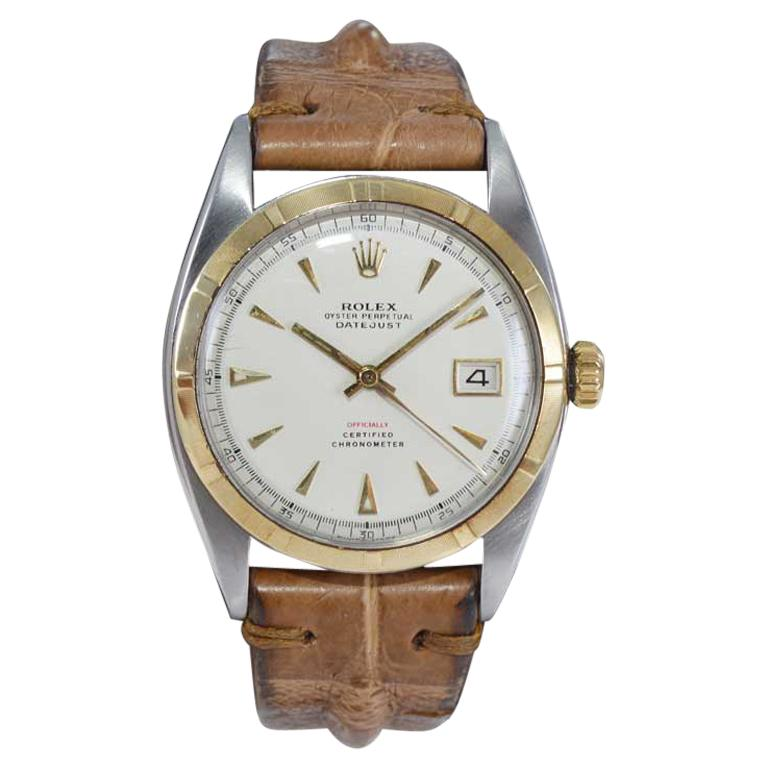Rolex Yellow Gold Stainless Steel Early Datejust Perpetual Wind Watch, 1953 For Sale