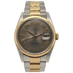 Rolex yellow gold Stainless Steel Slate Dial Datejust Wristwatch, circa 2003