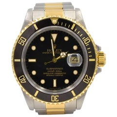 Rolex yellow gold Stainless Steel Submariner black dial Wristwatch Ref 16803