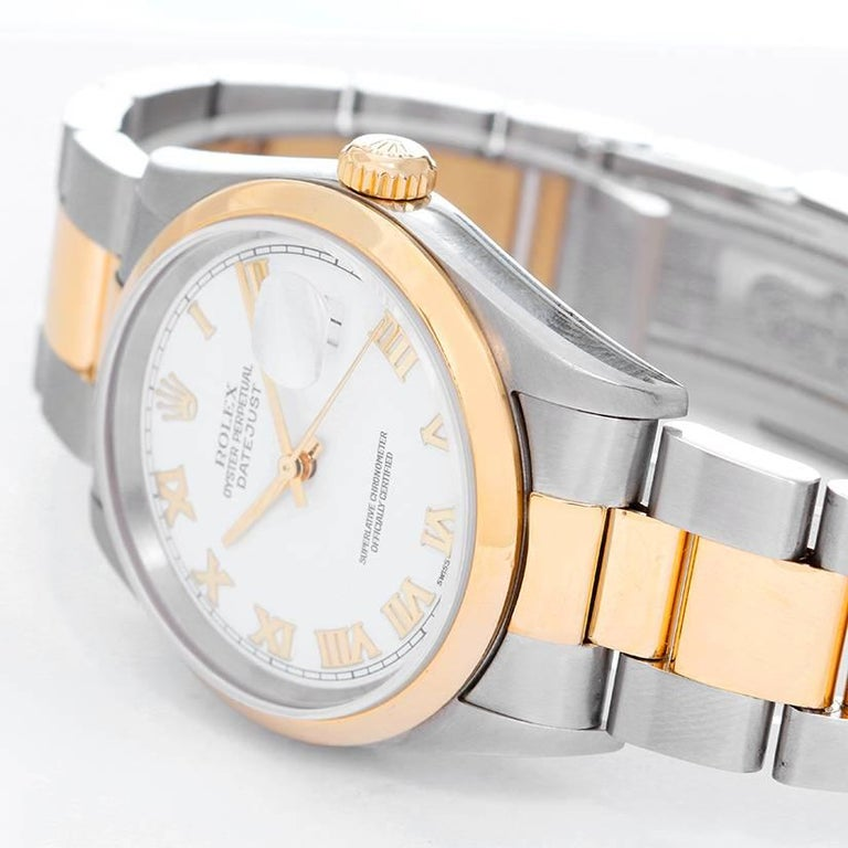 Rolex Yellow Gold Stainless Steel Two-Tone Datejust Oyster Automatic Wristwatch In Excellent Condition For Sale In Dallas, TX