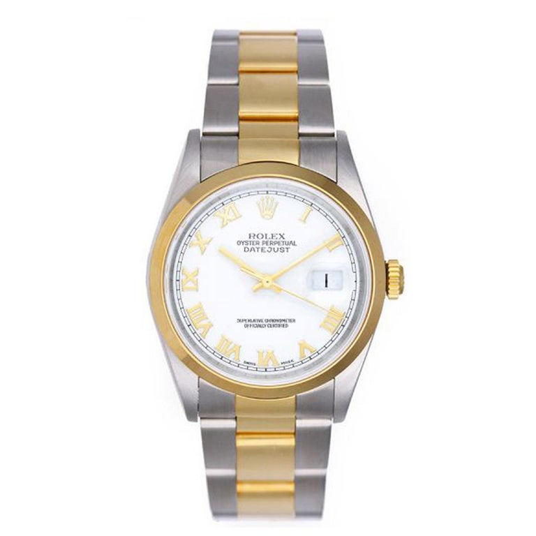 Men's Rolex Yellow Gold Stainless Steel Two-Tone Datejust Oyster Automatic Wristwatch For Sale