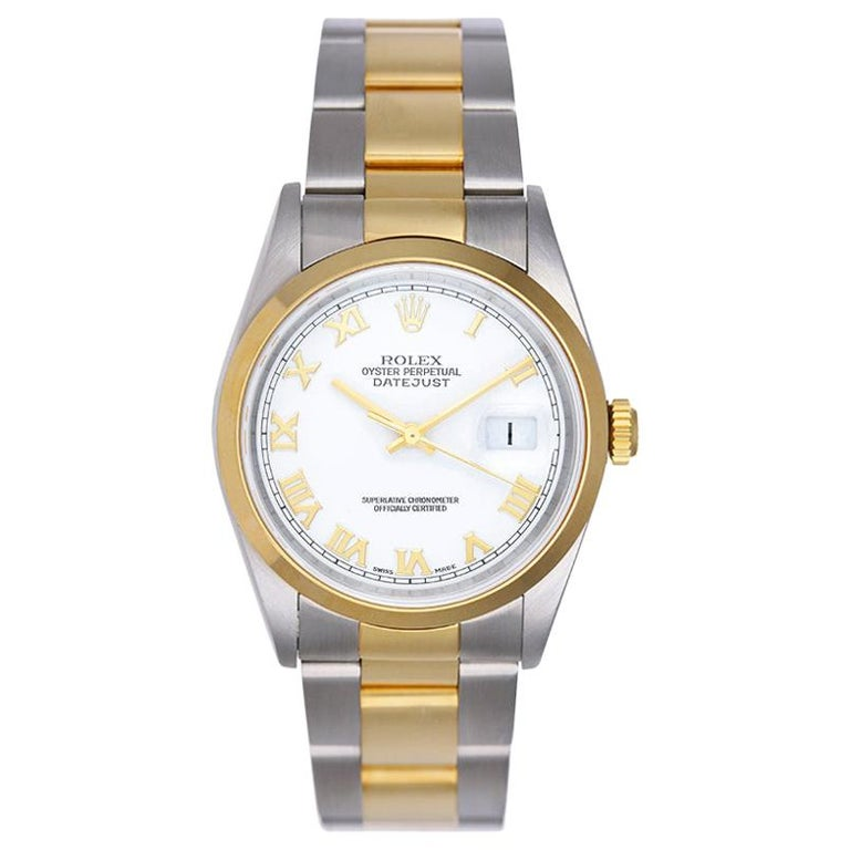Rolex Yellow Gold Stainless Steel Two-Tone Datejust Oyster Automatic Wristwatch For Sale