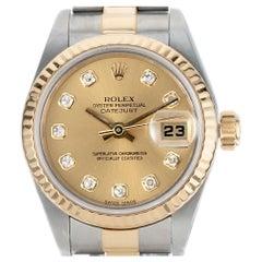 Rolex Yellow Gold Steel Ladies Diamond Datejust Wristwatch