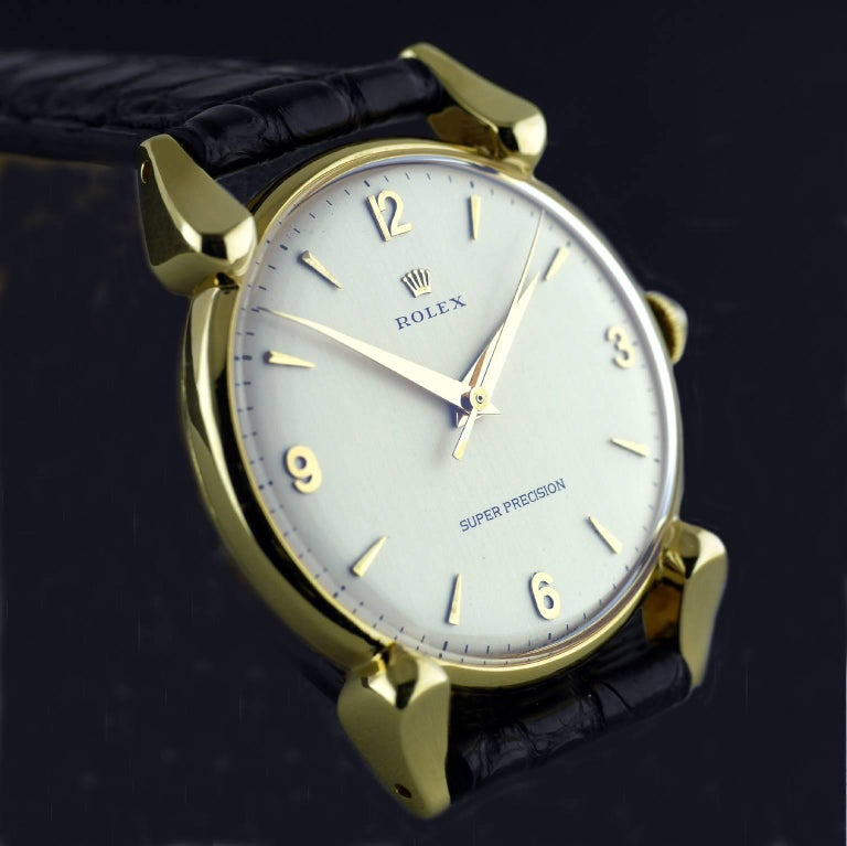 Women's or Men's Rolex Yellow Gold Super Precision Chronometer Wristwatch, circa 1949 For Sale